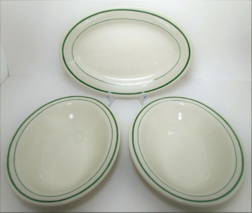 Buffalo China Niagara Green Stripe 1 Oval Platter 2 Bowls Vtg Restaurant Ware