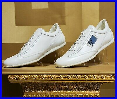 NEW VERSACE COLLECTION WHITE LEATHER SNEAKERS with SILVER MEDUSA BUCKLE 42 - 9