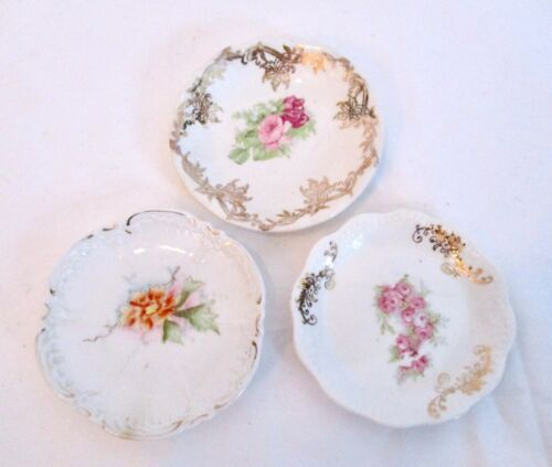 LOT OF 3 VINTAGE BUTTER PATS Floral Patterns Pink Yellow Orange Flowers