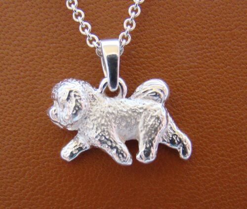 Small Sterling Silver Bichon Frise Moving Study Pendant