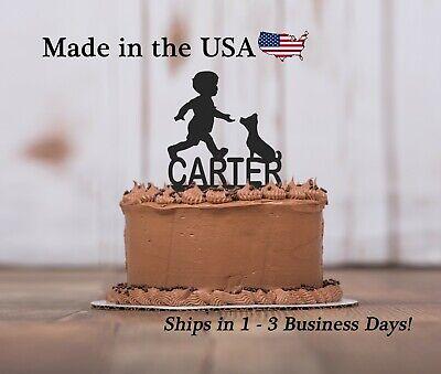 Dog and Boy Cake Topper, Boy's Birthday, Best Friends, Pup, Cake (Best Dog Birthday Cake)