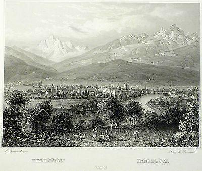 INNSBRUCK - Gesamtansicht - Frommel - Stahlstich 1842