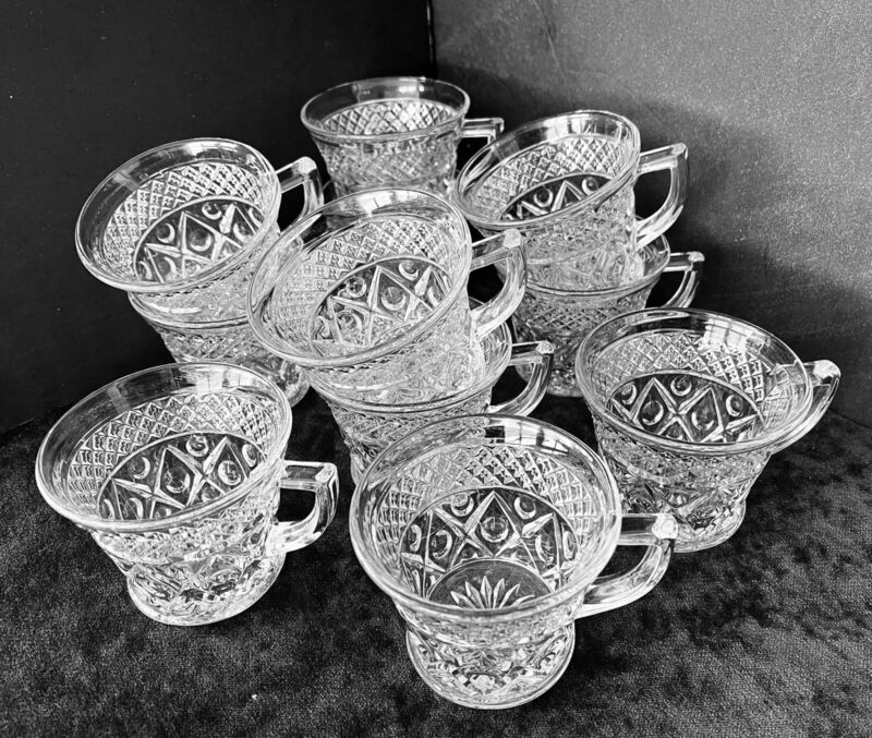 """Lot of 11 Vintage """"ANCHOR HOCKING"""" Clear Glass Punch Bowl Cups ~ Wexford Pattern"""