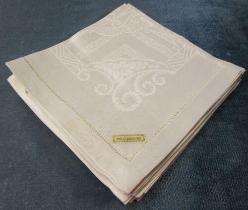 Antique 6 Czech Linen Damask Napkins Art Deco Styling Hemstitched Never Used