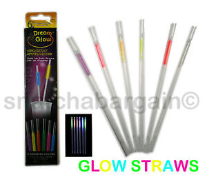 NEW GLOW NEON COCKTAIL DRINKING STRAWS BAR HEN - STAG NIGHT PARTY STRAW