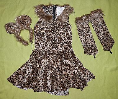 KATZENKOSTÜM Kleid Leopard Wildkatze m. Haarreif KOSTÜM KÄTZCHEN 110-116-128-140