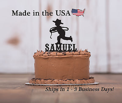 Cowboy Cake Topper, Boy's Birthday, Rodeo Theme, Western Cake Keepsake - LT1117 - Cowboy Birthday Cake