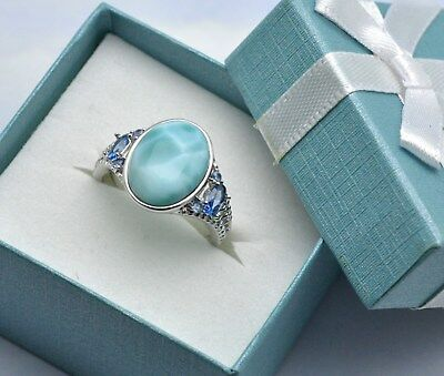 Larimar Aquamarine Combination 14X10mm Sterling Silver designer Ring.size 7.5