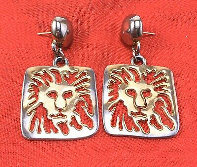 Vintage ANNE KLEIN Goldtone Dangle Polished Square LION HEAD Pierced Earrings