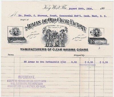 RARE Advertising Billhead - Armas de Oro Cigar Factory 1906 Key West FL Tobacco
