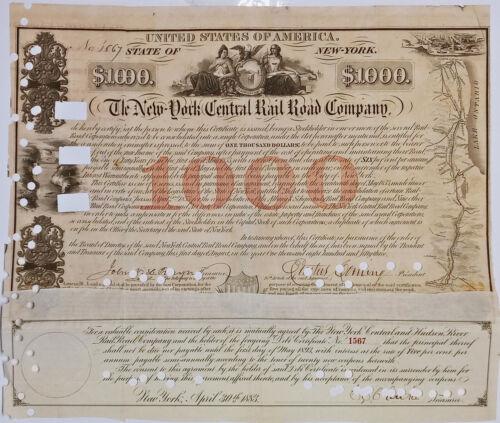 1853 Erastus Corning Signed -$1000 New York Central Railroad Bond