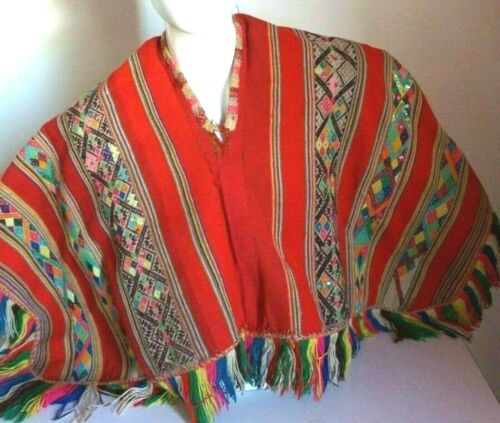 Peruvian Shaman  Poncho Andean Mountain Ceremony - red