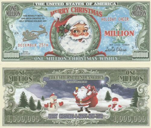 Santa Million Christmas Wishes Dollar Bill Funny Money Novelty Note +FREE SLEEVE