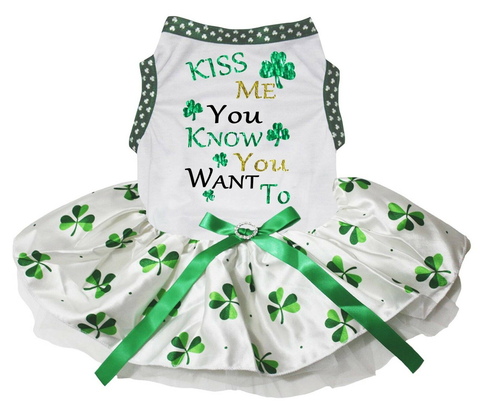 Kiss Me You Know You Want To White Top Clover Tutu Pet Dog Puppy
