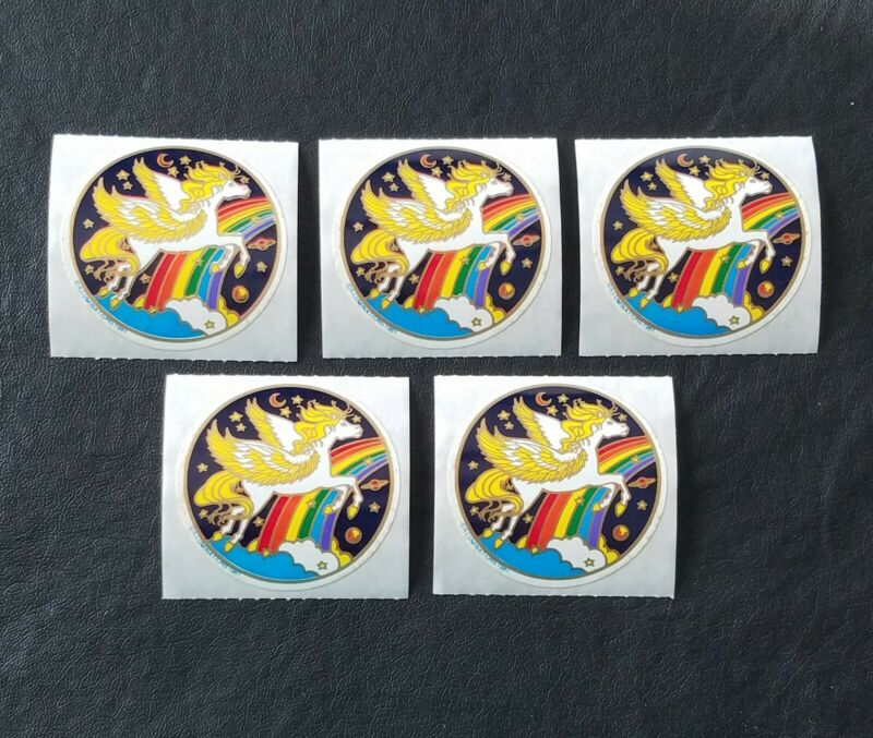 Vintage Pegasus Sticker Decal Planet Rainbow Illuminations 1981 Lot 5 Flying