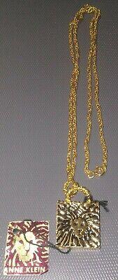 """ANNE KLEIN LION PENDANT GOLD TONE 15.5"""" NECKLACE"""