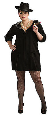 Gun Moll 20's Gangster Girl Black Dress Up Halloween Plus Size Adult - Plus Size Gangster Costumes