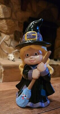"Vintage Ceramic Halloween Witch w/ Broom Halloween Decoration Dona Mold 10"""