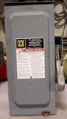 Square D 30 Amp Non-fused Safety Switch 600 Vac 30 Hp 3 Phase Hu361rb