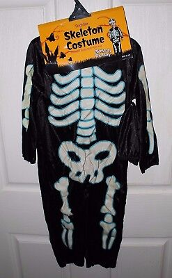 NEW Youth Toddler Infant X Ray Skeleton Glow in the Dark Halloween Costume NWT