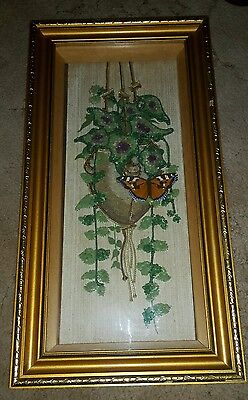 Unusual Vintage Picture With Tortoiseshell Marbled White Butterfly Replica