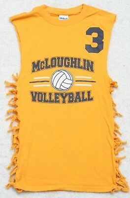 Gildan Yellow Orange Sleeveless Crewneck Volleyball Jersey Tee T-Shirt Top Small