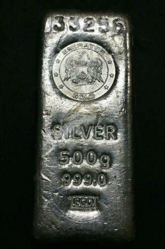 Emirates Gold 500 Grams Cast United Arab .999 Silver Bar Ingot Loaf Stacker Rare