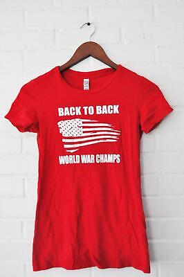 BOUTIQUE THE BELLA FAVORITE TEE T SHirt top Red Back to Back World War Champs (Back To Back World War Champs Womens)