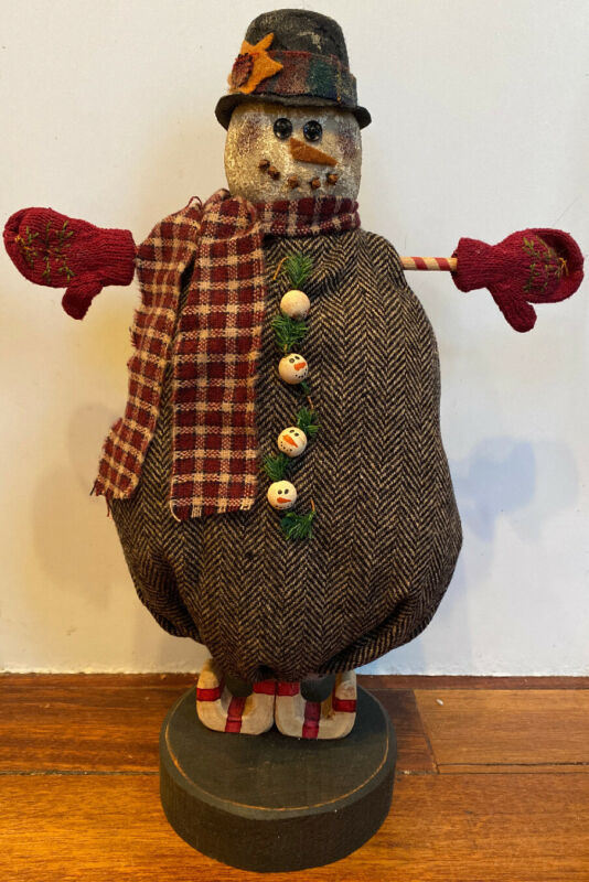 "Standing Fabric SNOWMAN Doll Country Primitive Folk Art Black Felt Hat 16"" Tall"