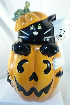 DAVIDS COOKIES HALLOWEEN COOKIE JAR BLACK CAT GHOST PUMPKIN