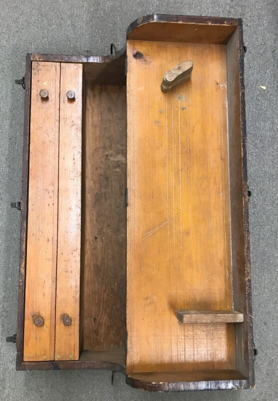Antique Wooden Machinist/Carpenters Tool Box Chest Custom made Box Primitive
