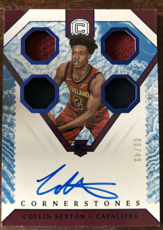 COLLIN SEXTON 2018/19 PANINI CORNERSTONES BASKETBALL RC AUTO/QUAD PATCH #6/49