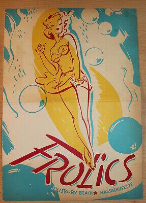 "c.1959 ""FROLICS"" on Salisbury Beach, MA Restaurant Stage Revues Show Menu STARS!"