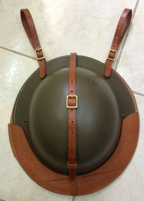 British Leather Helmet Carrier for Saddle or Sam Browne Belt