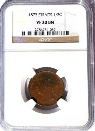 1873 Straits Settlements 1/2 Cent, NGC VF 20, KM-8, Malaysia