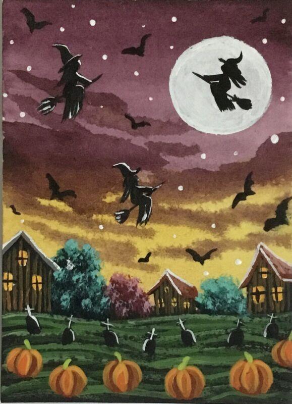 ACEO Original Halloween Watercolor & Acrylic Sketch Card Witches Pumpkins bats