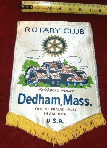 VINTAGE Rotary International Club wall banner flag    DEDHAM   MASS.