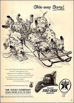 1951 AD TEXACO Fire-Chief Gasoline  Art Cute Dalmatian Pups on Sleigh 032017