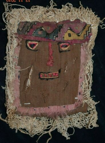 SALE!! PRE COLUMBIAN CHANCAY FABRIC DEATH MASK, 8IN PROV