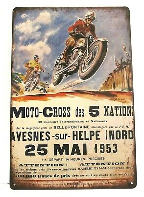 Moto-cross des 5 Nations Motorcycle Racing Tin Poster Sign Vintage Ad Style