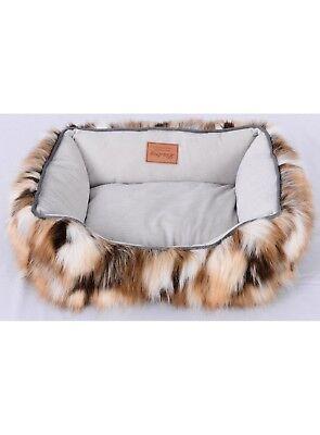 Lindsey Home Faux Fur Pet Dog Cat Warm Winter Bed Japanese Kanekalon Camel SMALL