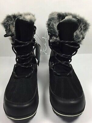 Calf Collar (Womens C9 Champion Ellysia Winter Boots Mid Calf Lace Up Faux Fur Collar)