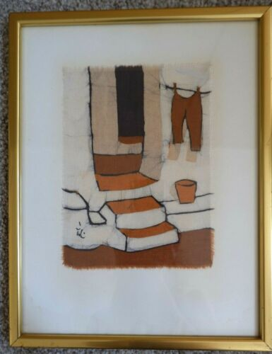Great vintage Batik Fabric Framed Art - Signed