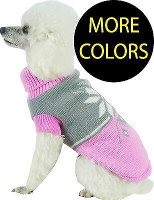 Snow Flake Cable-Knit Ribbed Fashion Turtle Designer Fashion Pet Dog Sweater