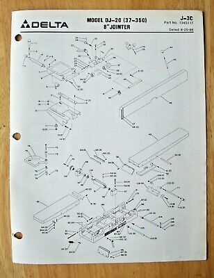 Original Delta Model Dj-20 37-350 8 Jointer Illustrated Parts List J-3c 1986