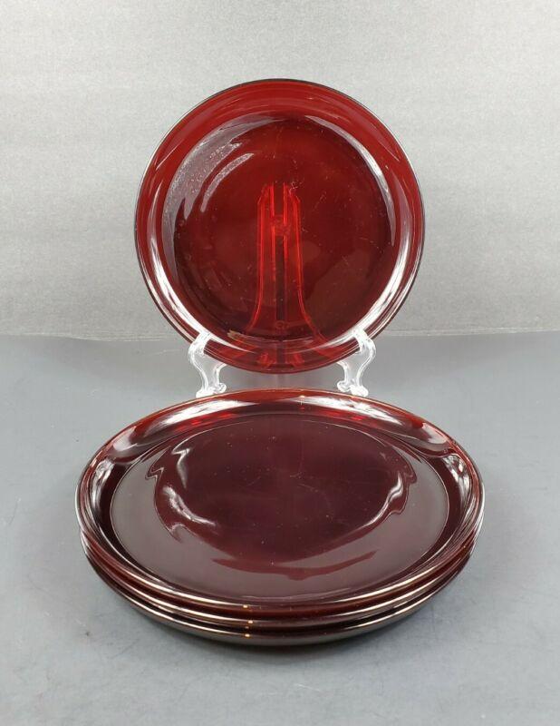 "Set of 4 Anchor Hocking Royal Ruby Glass Plain Round 9"" Dinner Plates VGC"