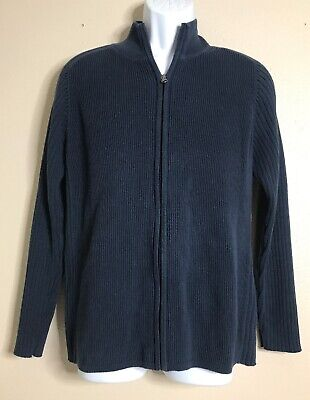 Indigo Palms Men Size M Blue Zip Sweater Tommy Bahama Cotton Long-sleeve Indigo Long Sleeve Sweater