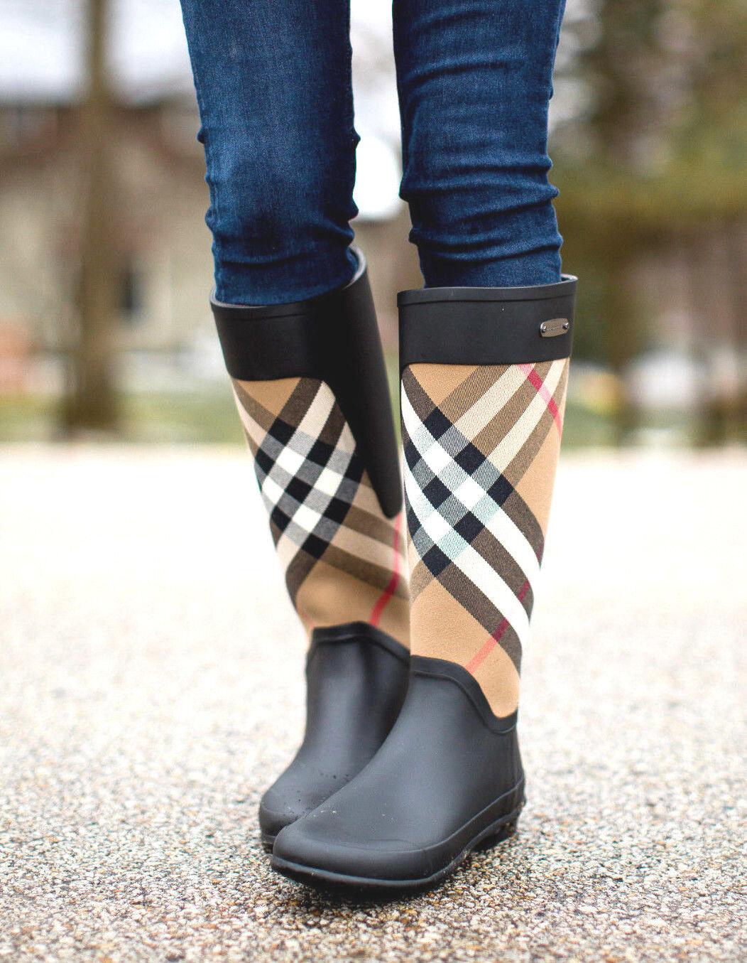 Burberry Check Panel Clemence Rubber Rain Boots Housecheck U