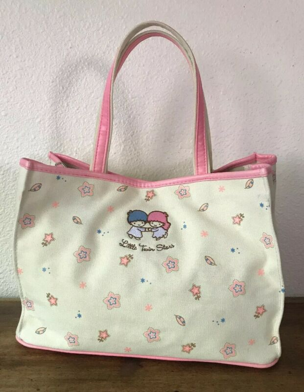 Vintage 1976 2003 Sanrio Little Twin Stars Canvas Tote. Ag With Organizer Insert