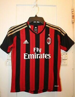 ADIDAS A.C. Milan Soccer Futbol Youth Small Home Jersey 2013/14 Serie A Emirates